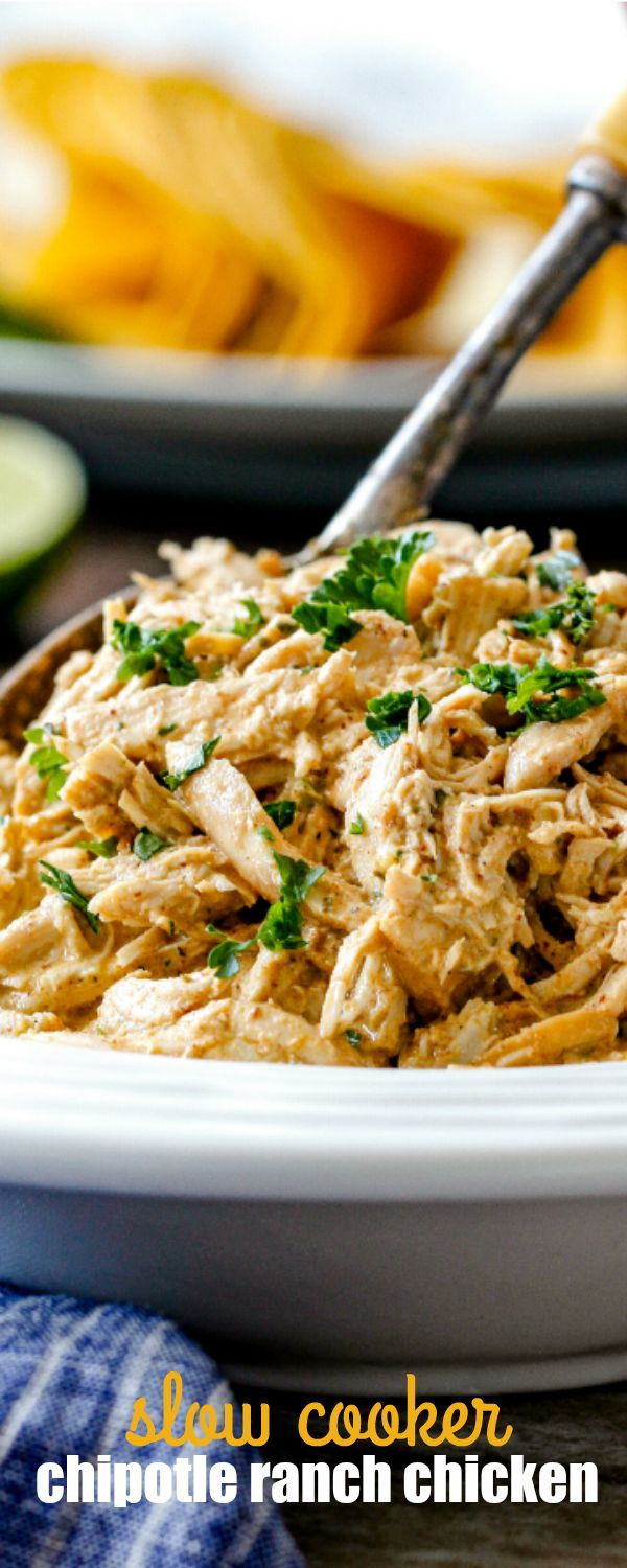 SLOW COOKER CHIPOTLE RANCH CHICKEN is juicy perfection that's a staple everyone needs in their back pocket!  Incredibly versatile, flavorful chicken for tacos, burritos, nachos, soups, salads, etc. and all you do is dump and run!  via @realhousemoms