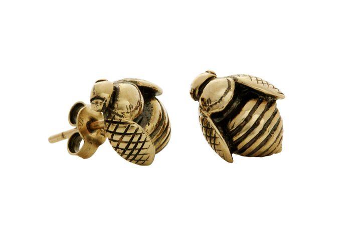 Yellow Gold African Honey Bee earrings