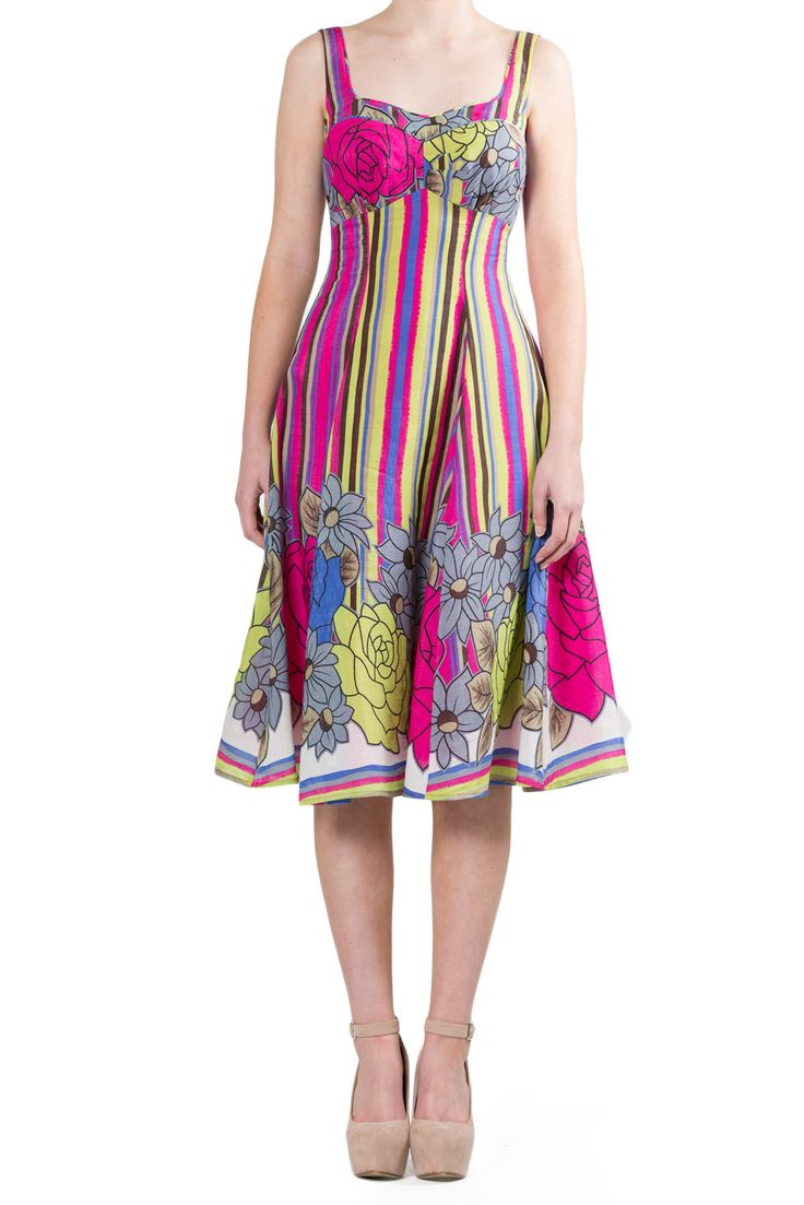 Hot Pink and Green retro print Skater dress. Weddings Guests Mother