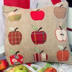 Free Appley Dappley cushion cover pattern from Bustle and Sew.