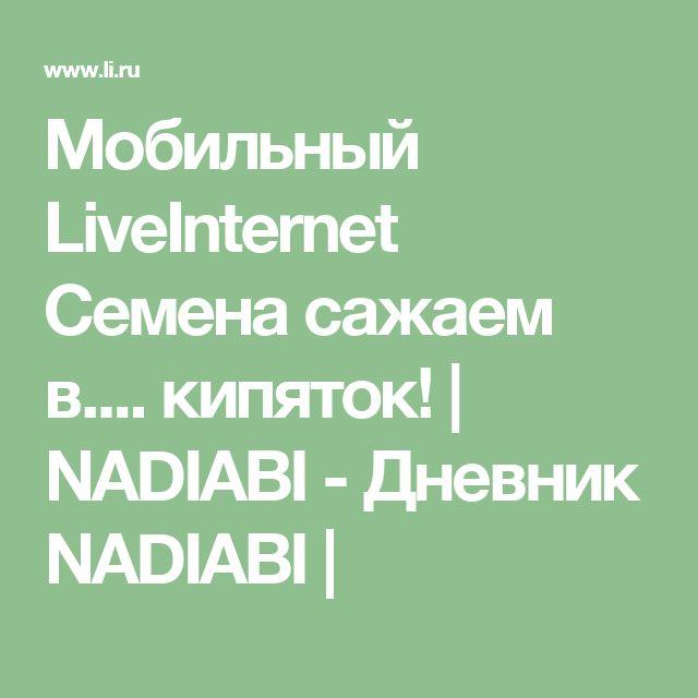 Мобильный LiveInternet Семена сажаем в.... кипяток!    NADIABI - Дневник NADIABI  