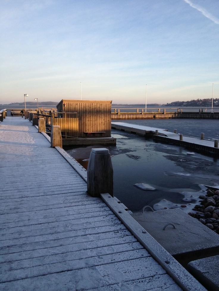 Winter swimming in Roskilde, Denmark.