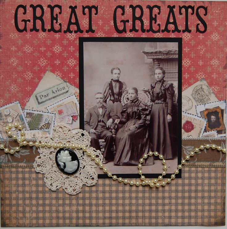 Great Greats...beautiful stitched center border embellished with vintage stamps, lace, pearls and a cameo.