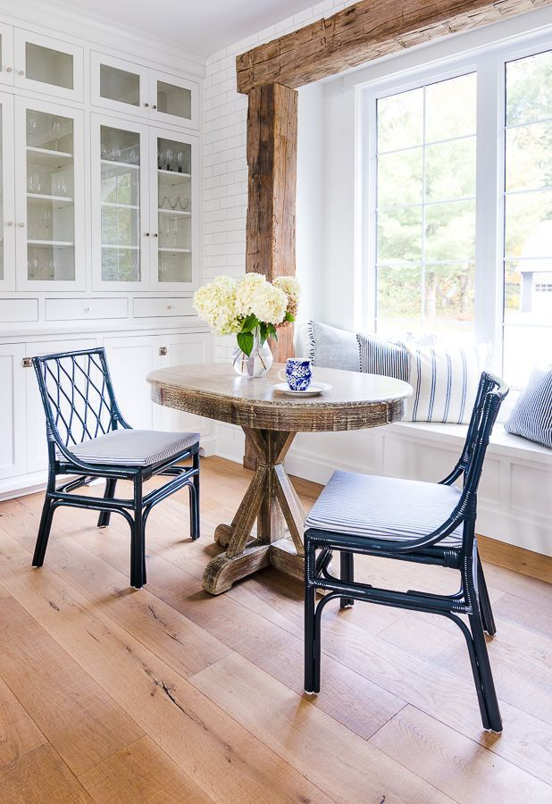 Stupendous Navy Ticking Breakfast Nook Chairs Kitchen Inspiration Caraccident5 Cool Chair Designs And Ideas Caraccident5Info