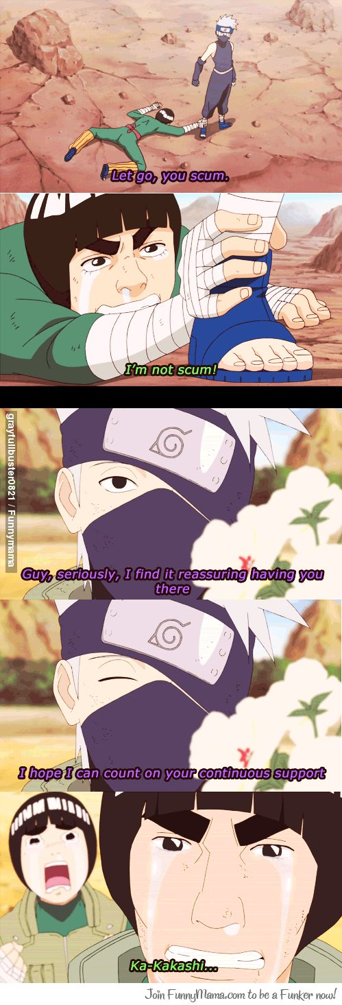 Kakashi and Gai's friendship is awesome. Haha Lee's face tho xD hilarious.