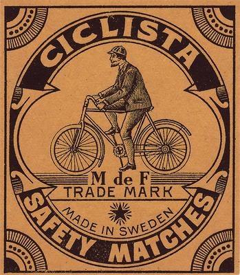 Antique Deco Bicycle Label Archival Mat Packet Size Matchbox C 1900 Sweden   eBay