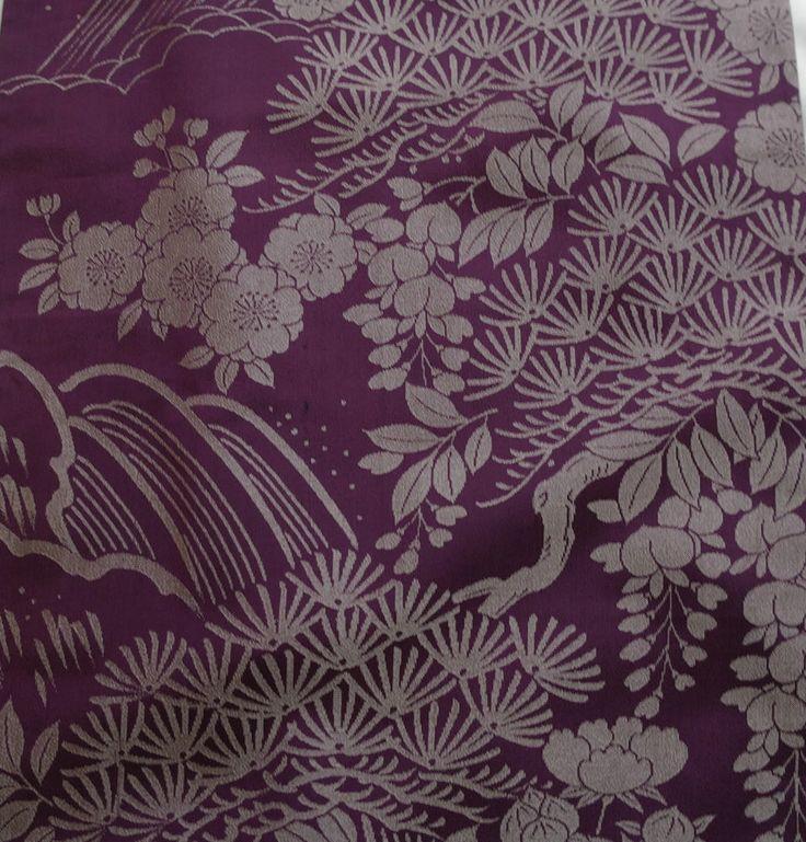Japanese vintage kimono silk fabric Taisho Roman Blossom and Wisteria