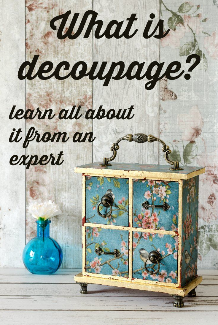"""Are you wondering what it means to """"decoupage?"""" I run a Mod Podge blog and I'm here to explain everything. Click through to learn more!"""