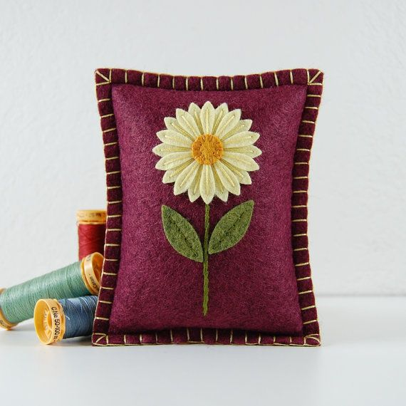 Wool Felt Pincushion - Small Pillow - Buttercup Yellow Daisy Hand Embroidered on Victorian Rose by theBlueDaisy on Etsy