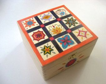 Wooden Memory Box, Keepsake Box, Large Hand Painted Box with Flower Design and Optional Text If mums were flowers, Id pick you  This beautiful