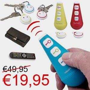 Smart Keyfinder - 1 zender + 3 ontvanger voor €19.95! www.euro2deal.nl