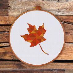 Geometric Maple Leaf cross stitch pattern, modern cross stitch pattern, Canada cross stitch pattern, maple cross stitch pattern,leaf pattern