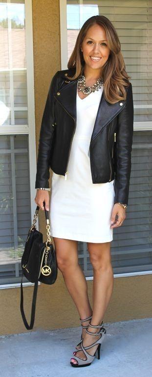 Платье + кожаная куртка-косуха. 4