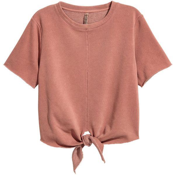 H&M Short-sleeved Sweatshirt $12.99 found on Polyvore featuring tops, hoodies, sweatshirts, shirts, blusas, crop top, red crop shirt, short-sleeve shirt, tie crop top and red top