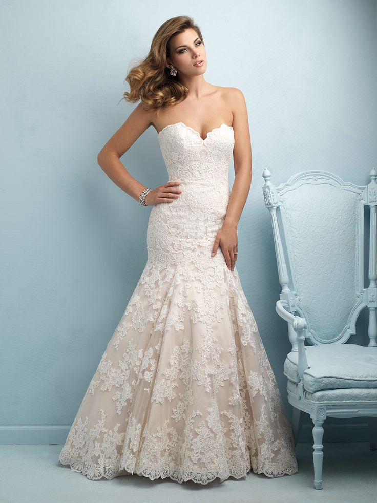 ALLURE BRIDALS STYLE 9215 Multitextured Lace Composes This Strapless Gowns Dramatic Train