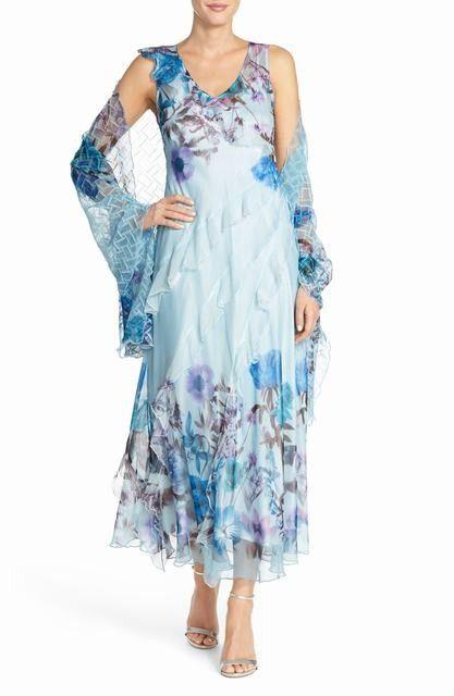 Komarov Floral Chiffon Gown with Shawl