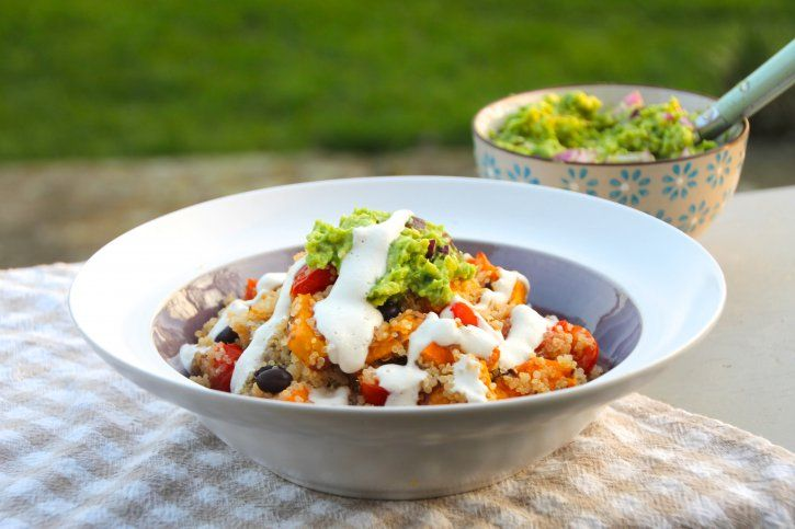 Mexican Quinoa with Cashew 'sour cream', sweet potato, black beans and guacamole!  www.naturallysassy.co.uk