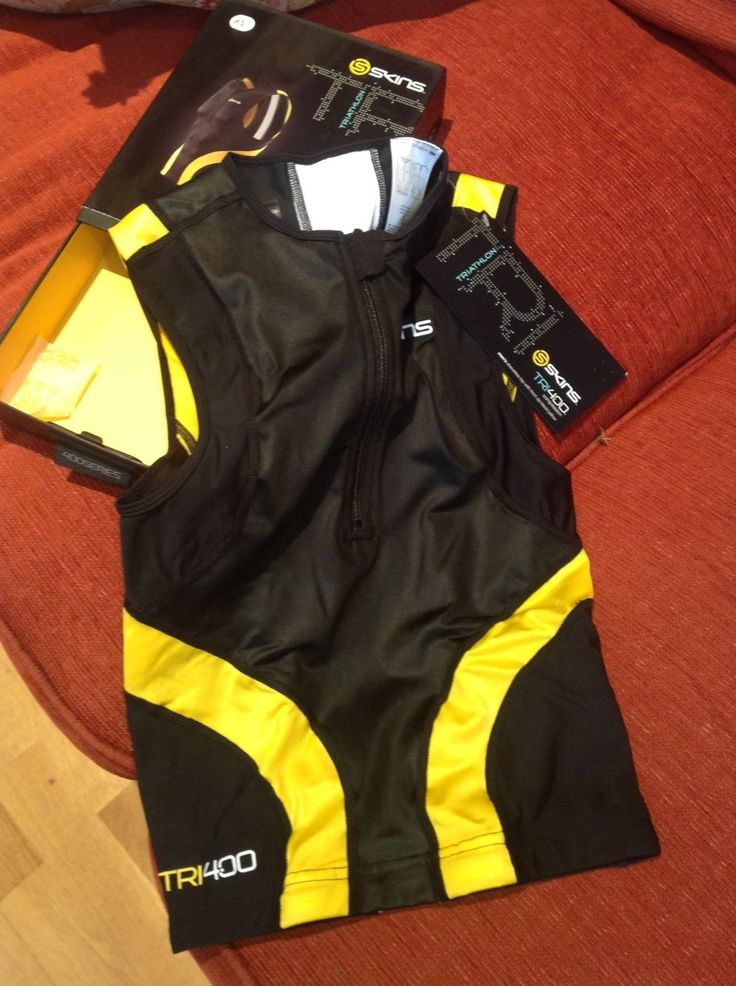 Skins tri400 mens #compression triathlon #sleeveless front zip top #black/yellow,  View more on the LINK: http://www.zeppy.io/product/gb/2/162326481076/