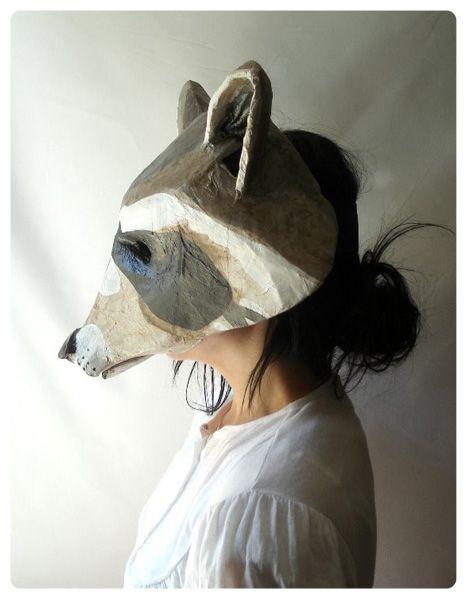 paper mache masks by Captain Cat http://www.etsy.com/listing/25722850/handmade-folk-art-raccoon-mask?ref=v1_other_2