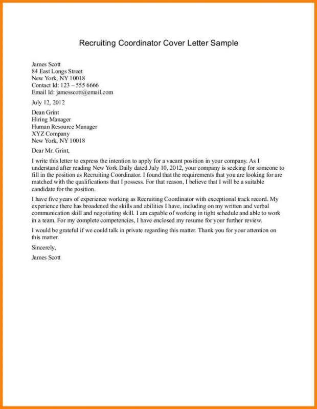 Sample Email To Recruiter Cover Letter For Resume Cover Letter Sample Cover Letter Example