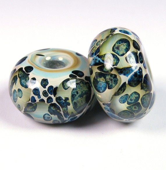 Sea Stone Lampwork beads - Lampwork Boro Beaded Pair by bbglassart on  Etsy