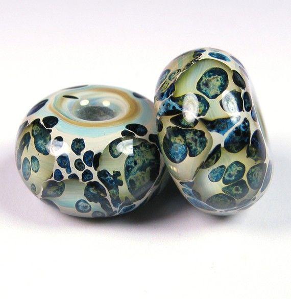 Sea Stone Lampwork beads - Lampwork Boro Beaded Pair by bbglassart on  Etsy