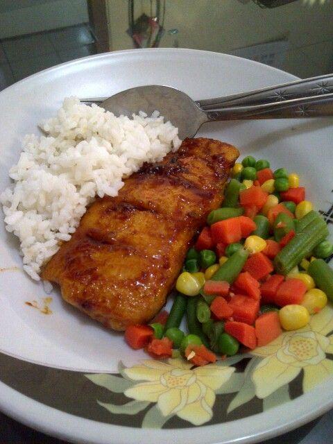 Grilled dori fish with vegie