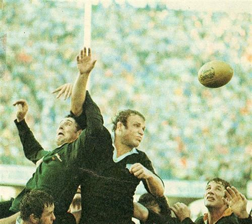 24 July 1976 - South Africa 16 / All Blacks 7 the battle between the locks in the first test. It was intense and New Zealand made a serious mistake by not playing more with their set piece in the second half because Whiting and Macdonald outplayed menacing Moaner and the Jolly Jumper Johnie.