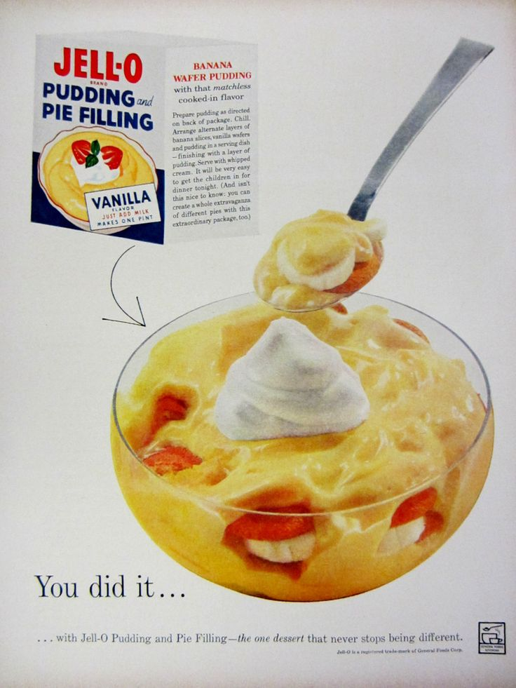 1959 Jello Pudding & Pie Filling Vintage Advertisement Kitchen Wall Art Cook Decor Original Magazine Print Ad Banana Pudding Food Ephemera by RelicEclectic on Etsy