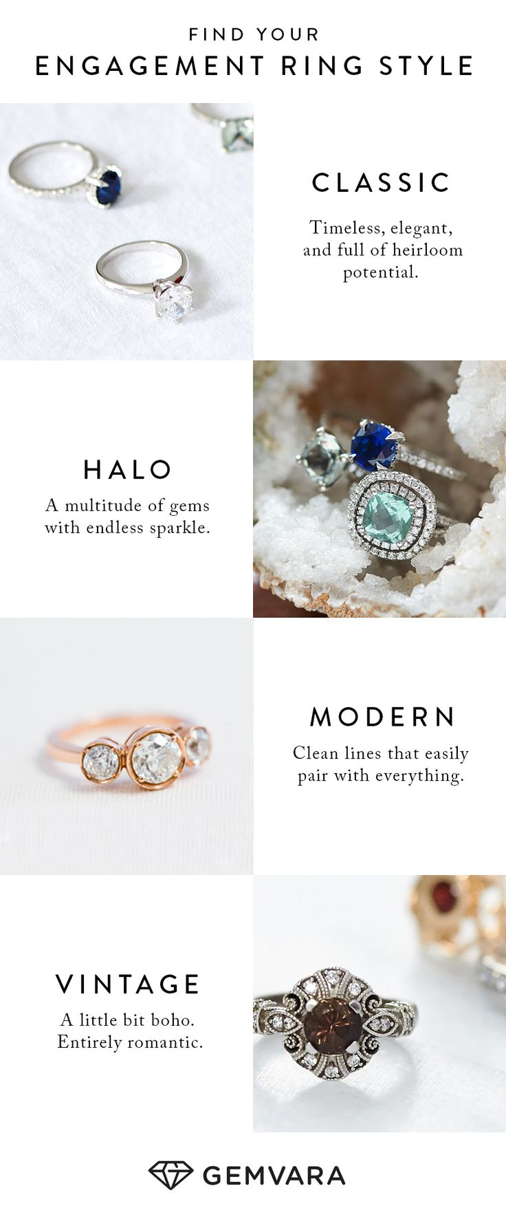 Classic. Halo. Modern. Vintage. What's your engagement ring style?