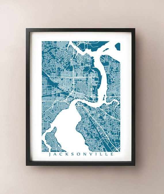 Jacksonville Map Print Florida Poster by CartoCreative on Etsy, $20.00