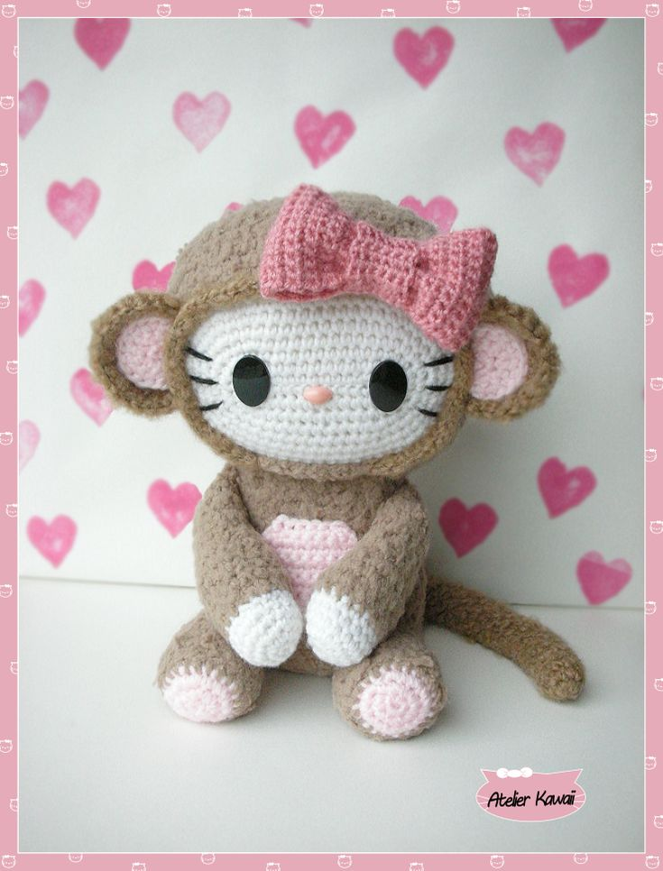Amigurumi « Hello Monkey » au crochet. Free pattern.