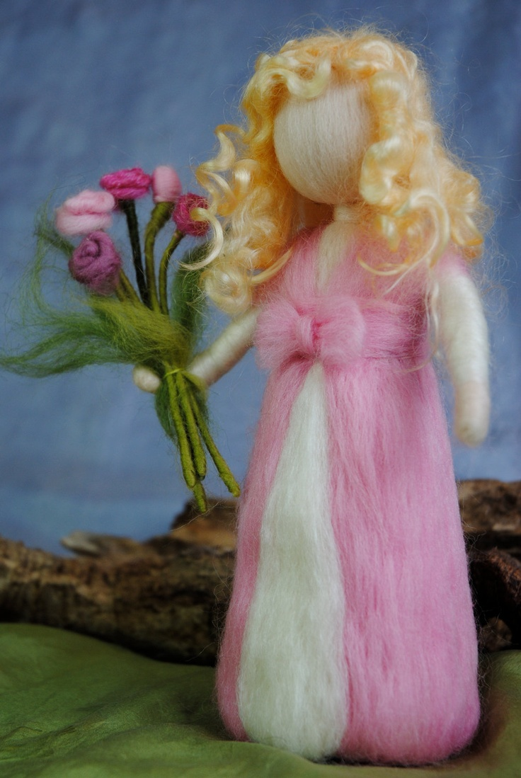 Waldorf inspired needle felted doll: Flowers-bouquet pink fairy