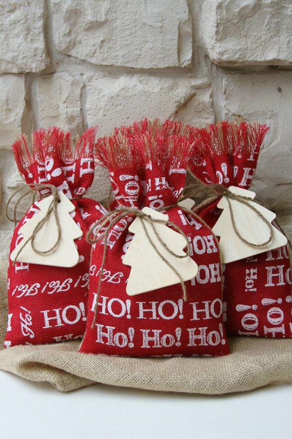 Burlap Gift Bags Shabby Chic Christmas Wrapping by FourRDesigns, $20.00