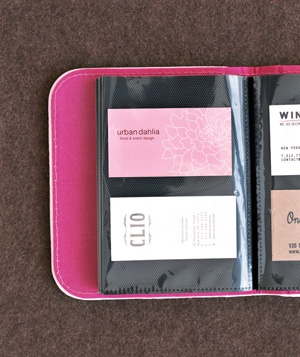 Photo Album as Business Card File.  Good idea to keep up with colleagues!