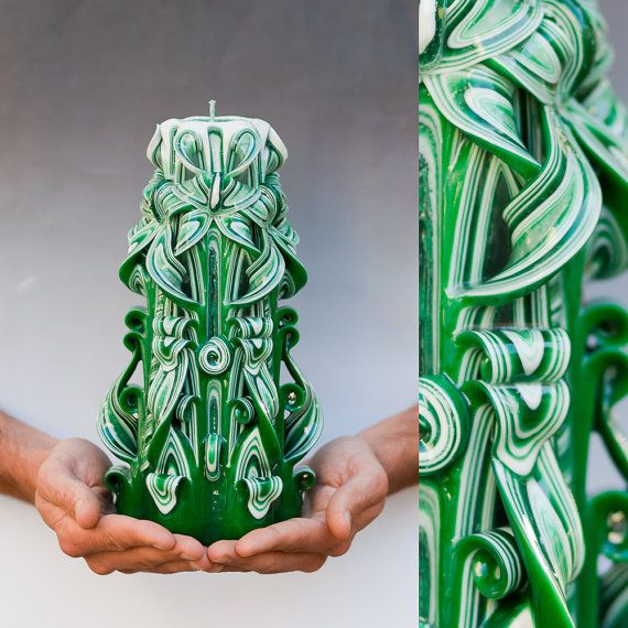 Carved candles - Green candle -Home Decor - Gift ideas for men