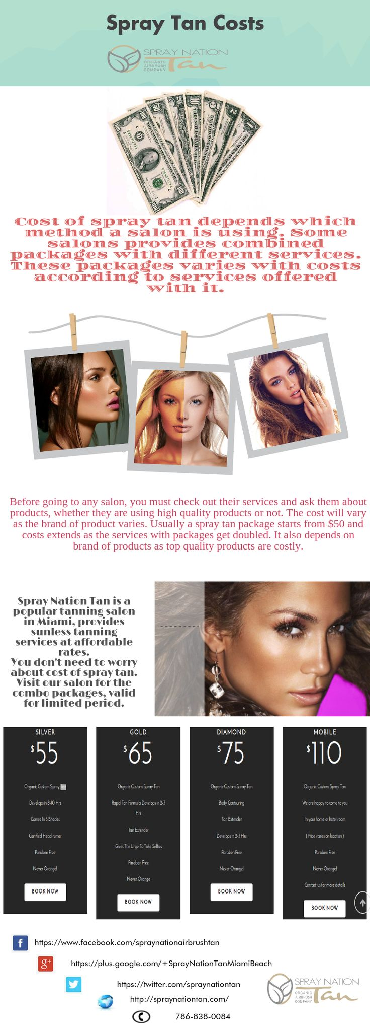 Cost of #spray_tan depends which method a salon is using. Some salons provides combined packages with different services. These packages varies with costs according to services offered with it.
