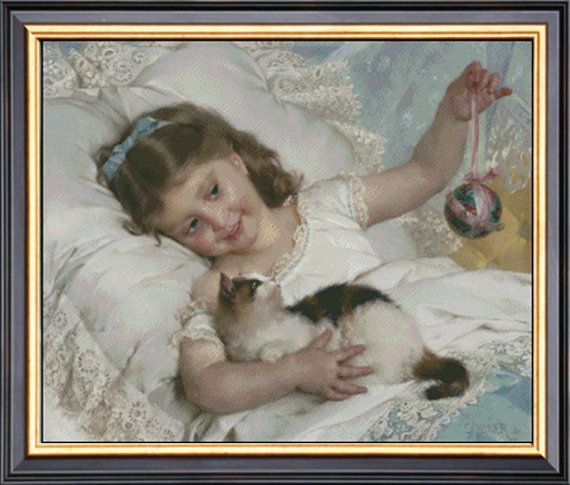 Needlework Craft Petit Fille & Chat By Emile Munier by Ankicoleman, $8.99
