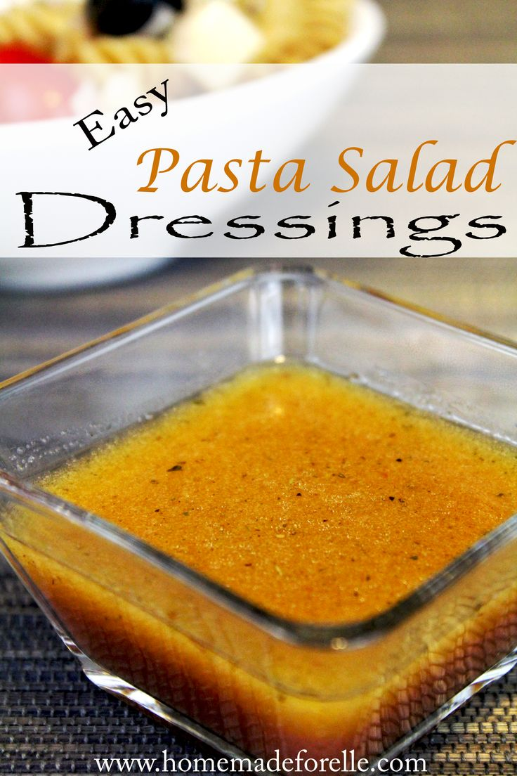 how to make pasta salad: 2 parts oil, 1 part vinegar and seasoning.  See post for variations in recipes!