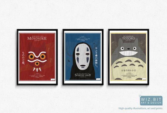 Studio Ghibli Totoro Mononoke Spirited Away Poster by WizBitArt