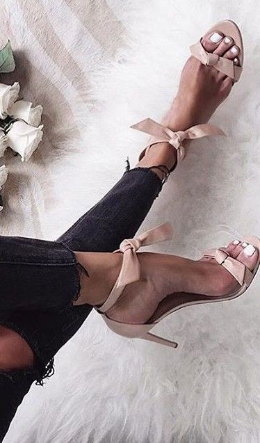 #summer #trending #womens #shoes | Dusty Pink Bowed Sandals