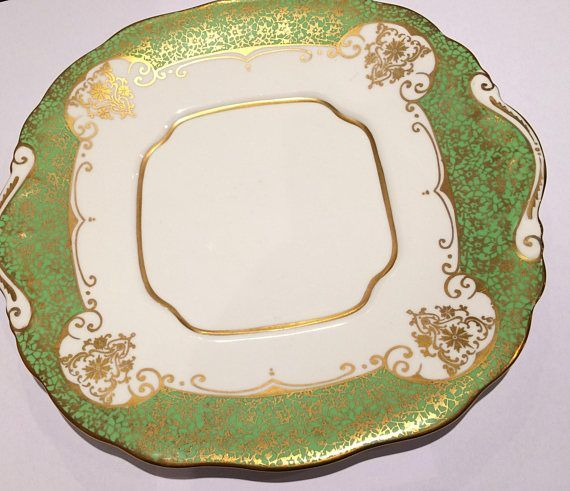 Salisbury English Vintage China Tea cup Saucer & Side Plate Green Gold Elegant Katies Vintage Teacup Company Tea Parties - Events - Weddings - Gifts Collectors - Replacement China - Theatre/Film Props China Match - China Search We sell - China, crockery, crystal, glass,