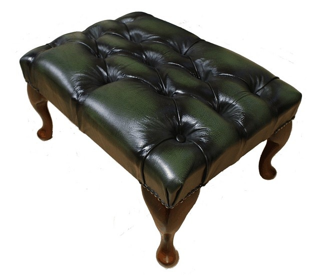 Chesterfield Queen Anne Footstool UK Maufactured Antique Green, Leather Sofas, Traditional Sofas