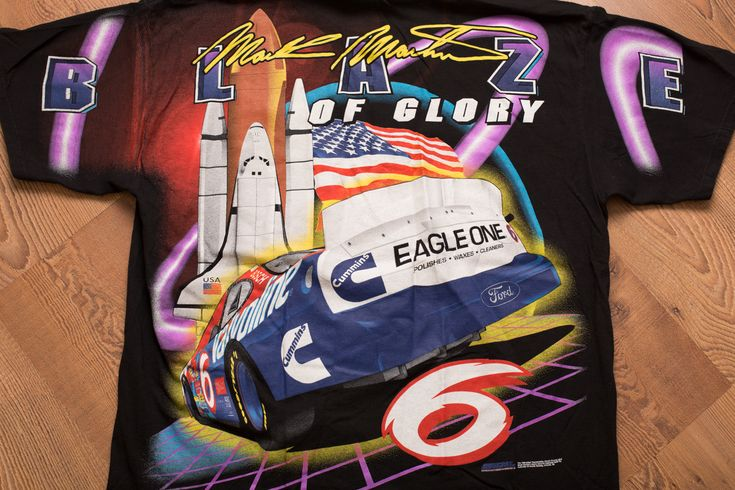 Vintage 90s Mark Martin Blaze of Glory T-Shirt, Space Shuttle Graphic, All Over Print