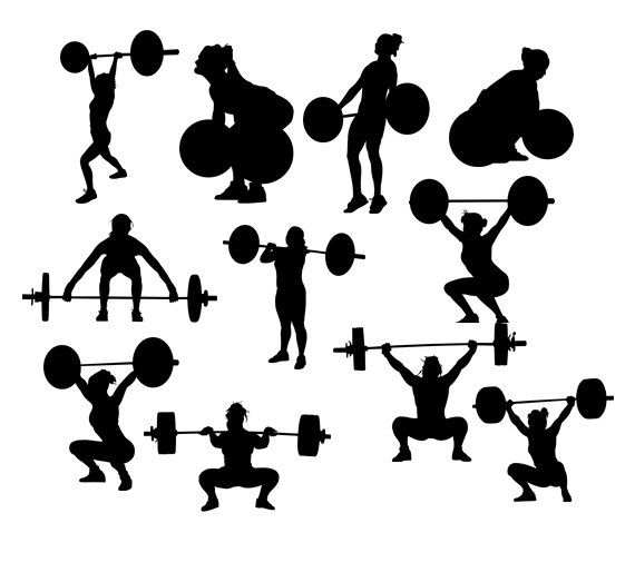Clipart weightlifting women  instant download PNG JPG SVG eps