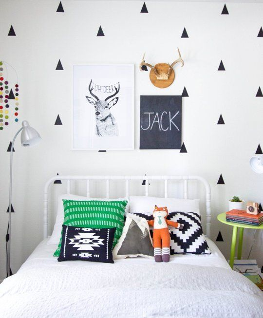 this room was meant to be my Jack's for so many reasons... Socks the Fox, the IKEA pillow, the deer, Jenny Lind bed, black and white. I love it all!