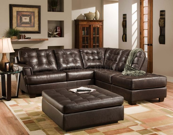 Contemporary Leather Sectional Sofa With Chaise For Small Living Room