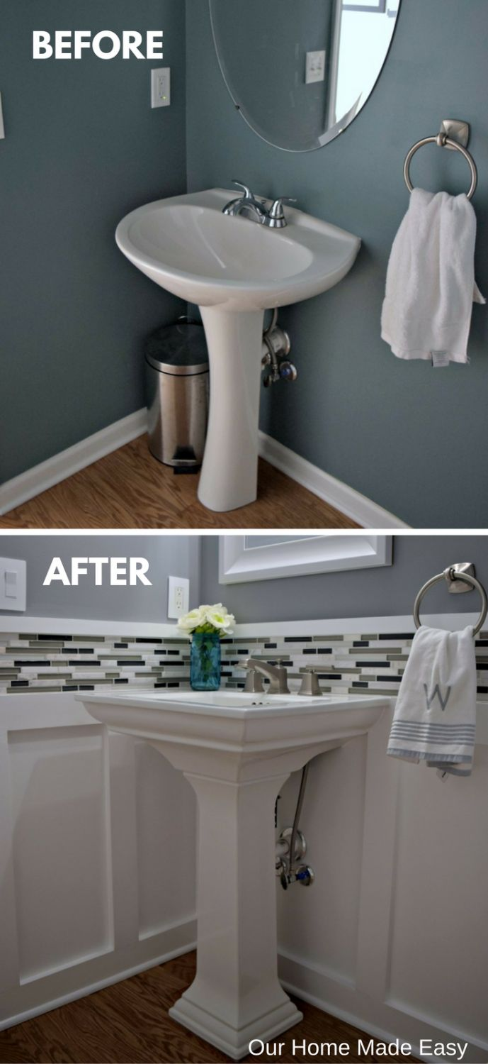 Budget Powder Room Reveal Orc Week 6 Guest Bathroomsdownstairs Bathroomsmall Bathroombathroom Ideaseasy Bathroom Updateswainscoting
