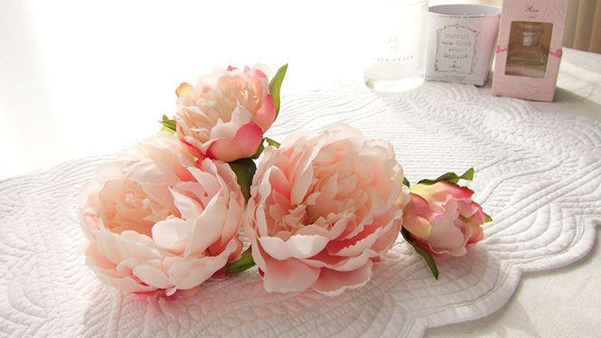 しゃくやくのヘッドドレス サーモンピンク http://www.fleuriste-glycine.jp/
