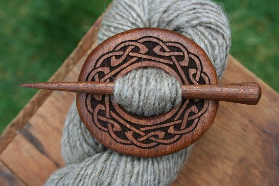 Celtic Mahogany Shawl Pin - Handmade Wooden Shawl Pin in Reclaimed Wood - Eco Knitting Supplies